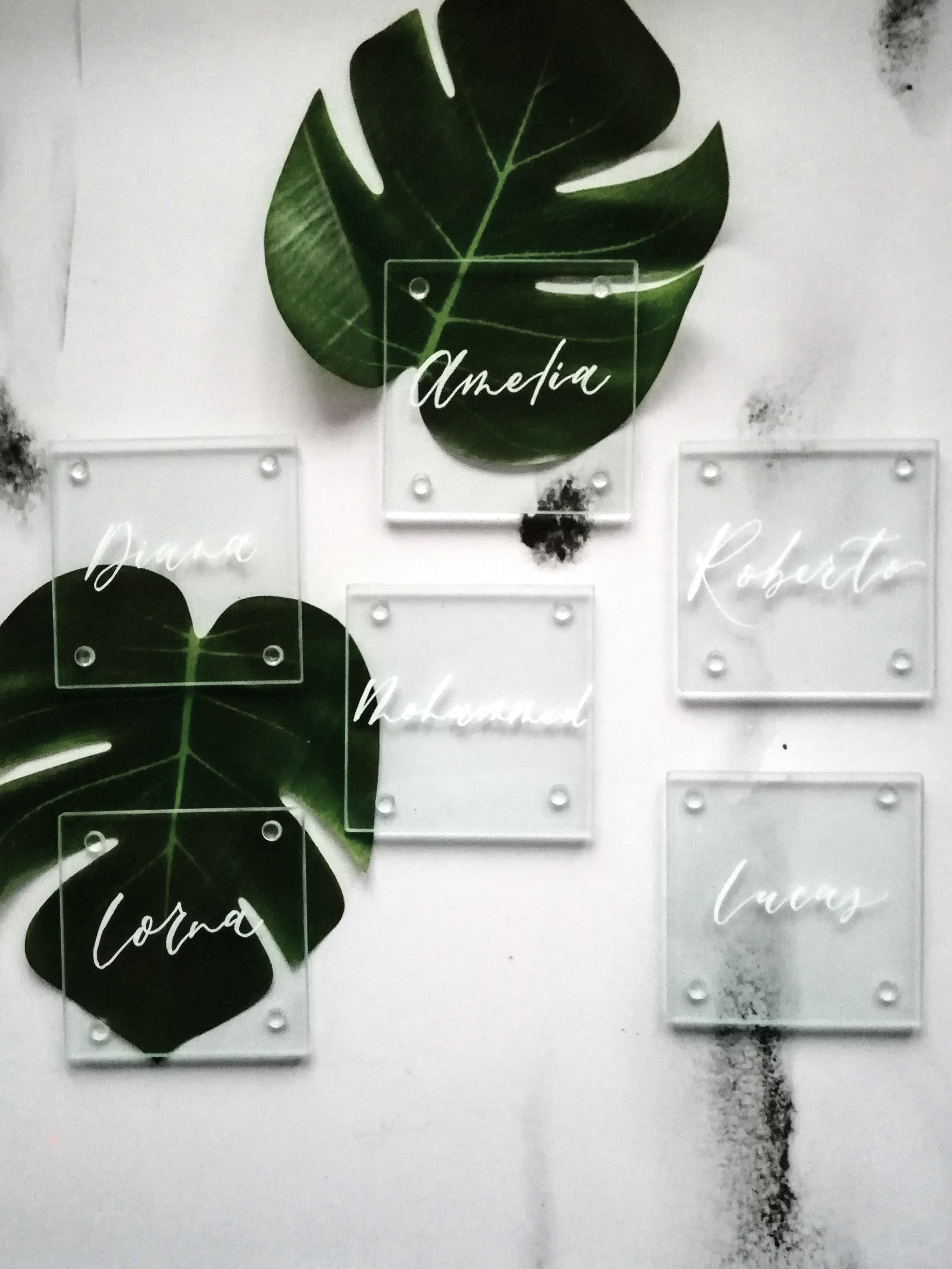 Glass Coaster Place Cards