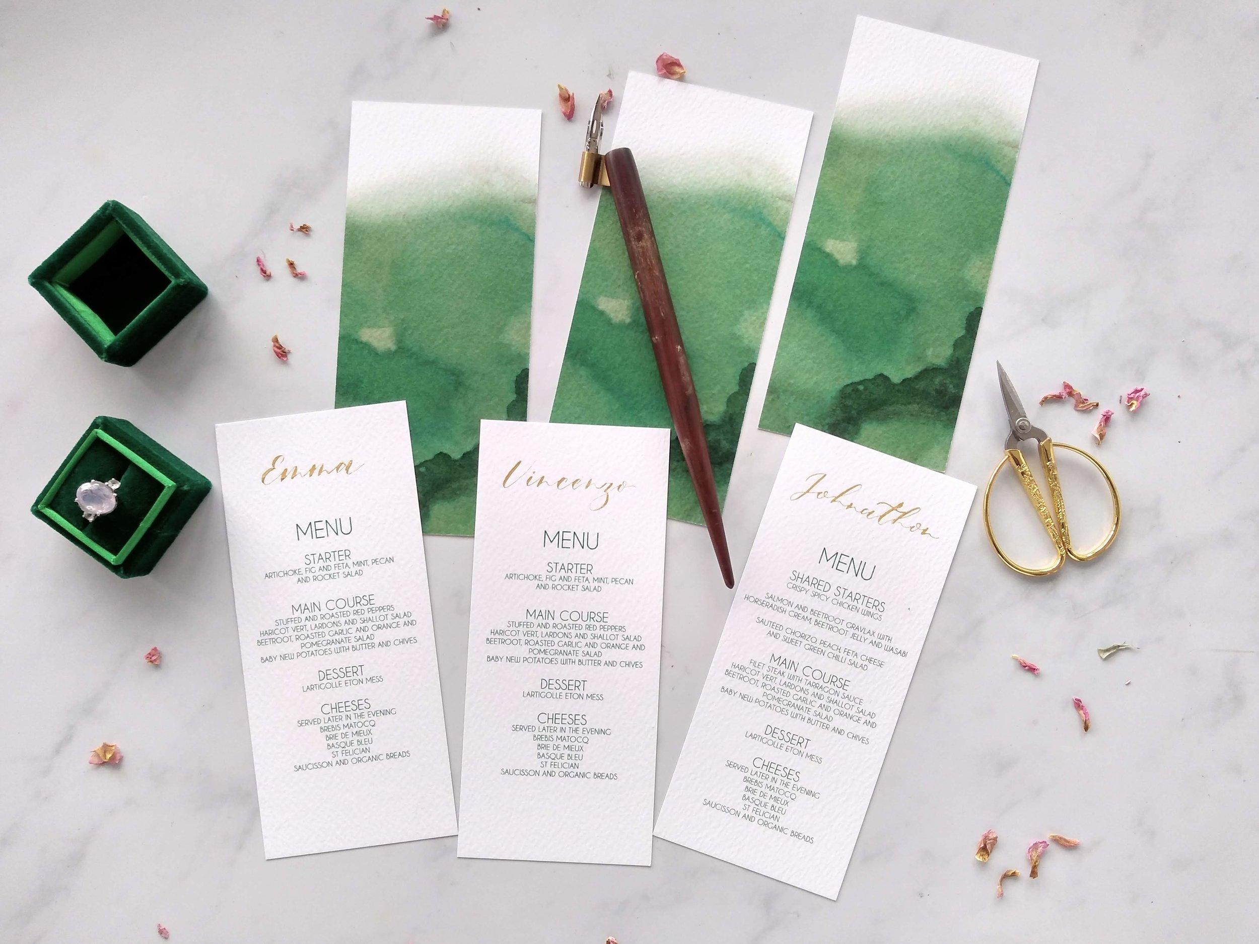 Menus personalised with handwritten calligraphy