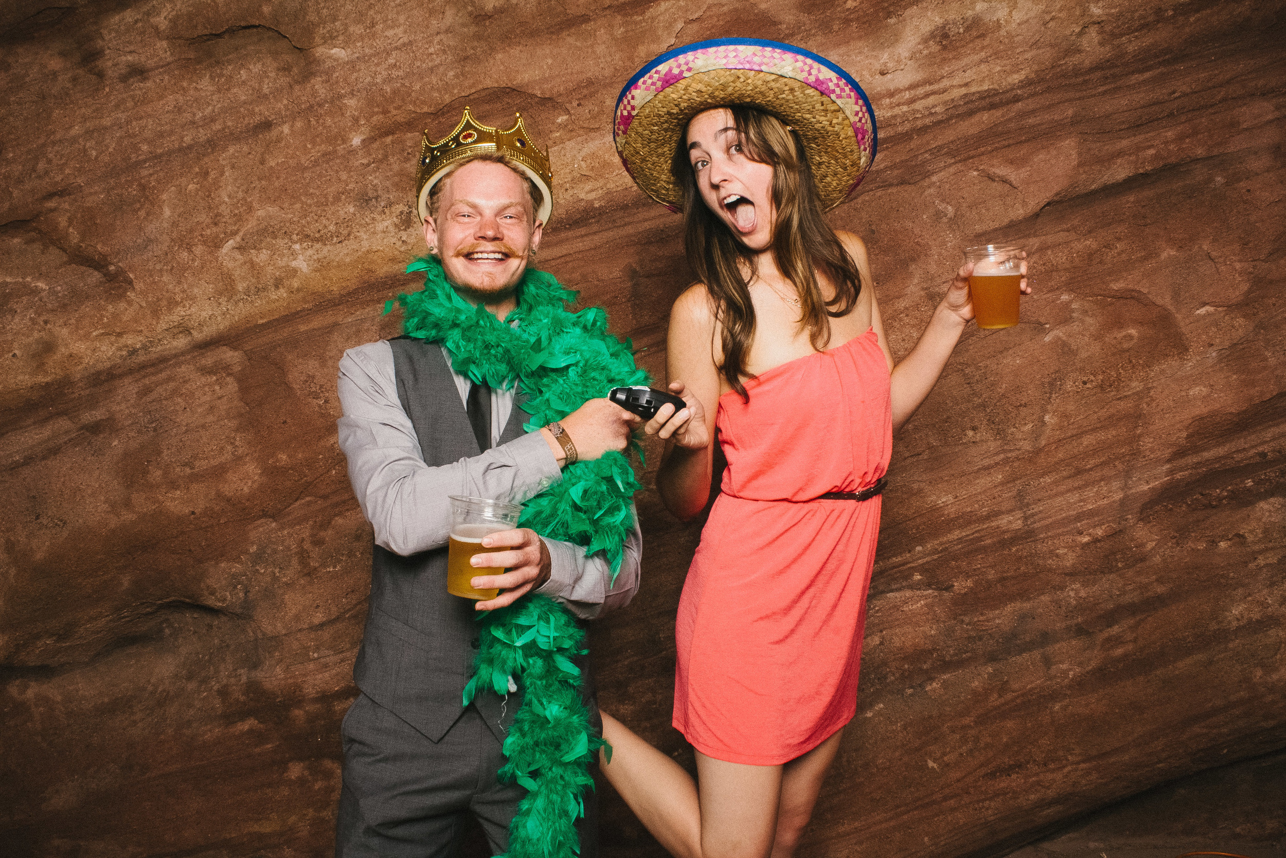 Two friends having fun in the Vert Booth, an open air photobooth in Denver, Colorado