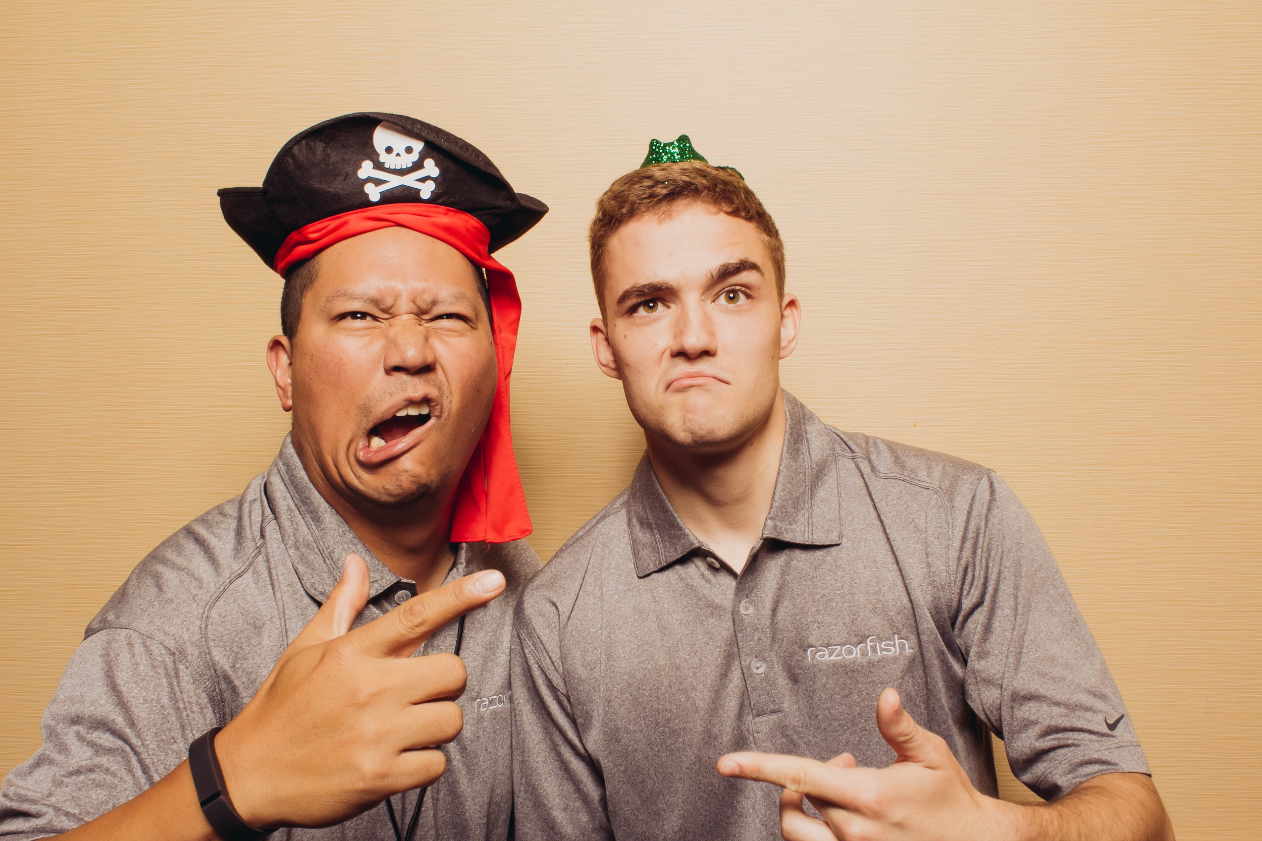 Two men at a corporate event in the Vert Booth, an open air photobooth in Denver, Colorado