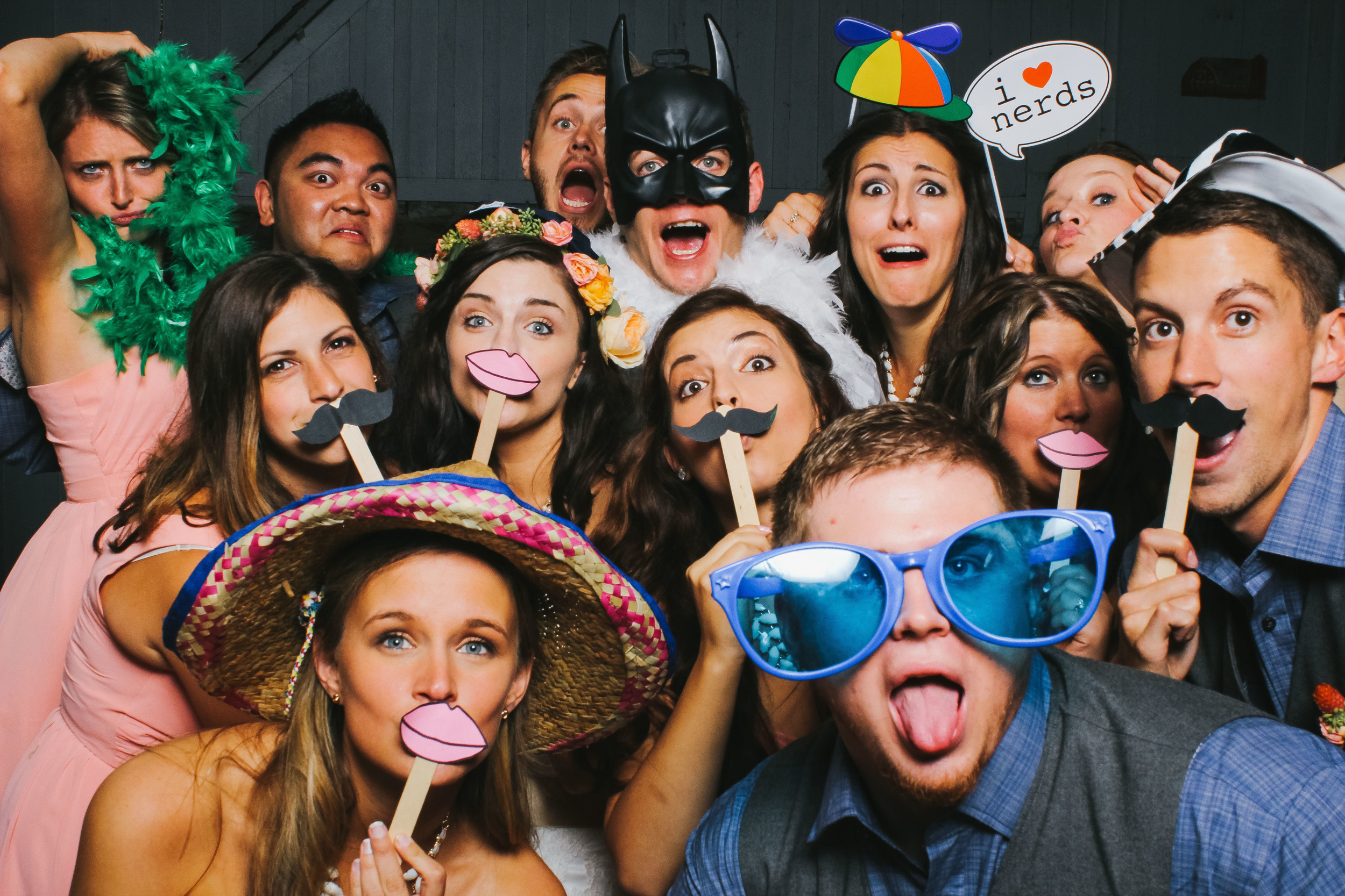 A group of friends in the Vert Booth, an open air photobooth in Denver, Colorado