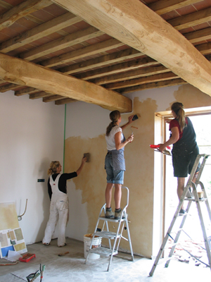 Some of my fellow artisans involved in this project working on a colour wash for the kitchen area.