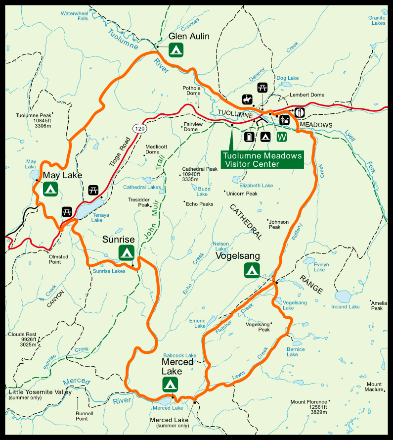 The High Sierra Camp loop is generally done counter-clockwise, starting at either Tuolumne Meadows/Glen Aulin and ending at Volgesang.