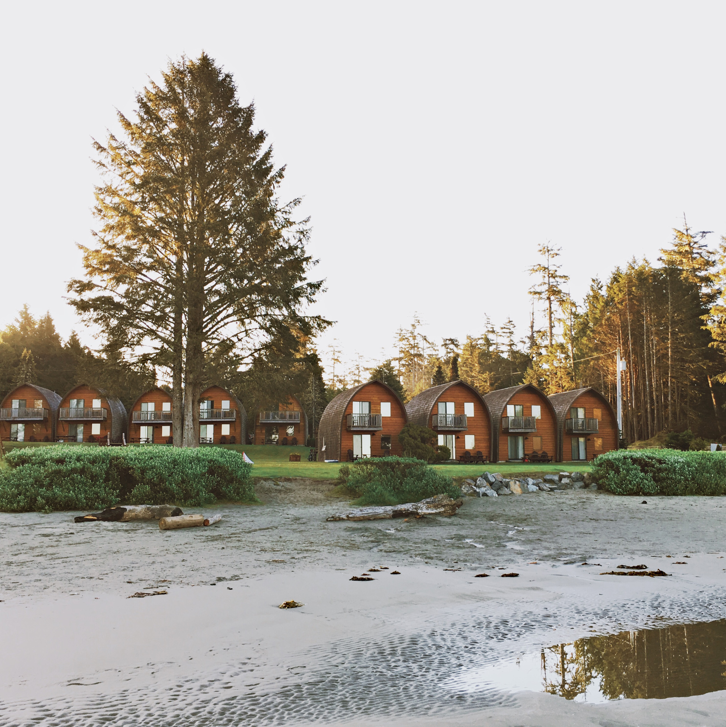 Cute beach front cabins at Ocean Village Resort, Tofino