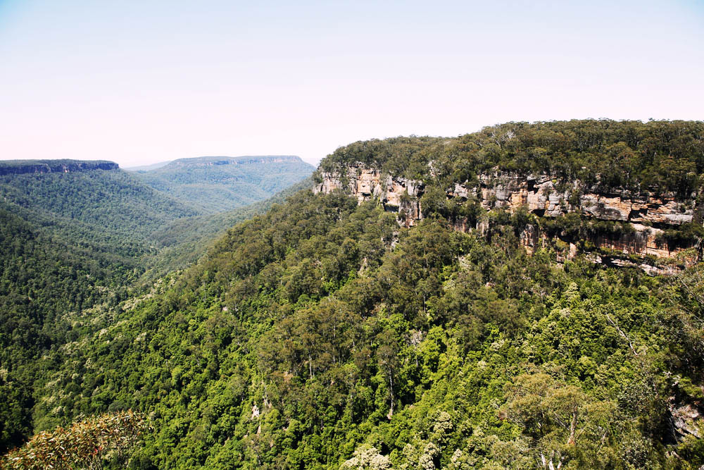 View from the top of the escarpment into Kangaroo Valley in the Southern Highlands, New South Wales, Australia.