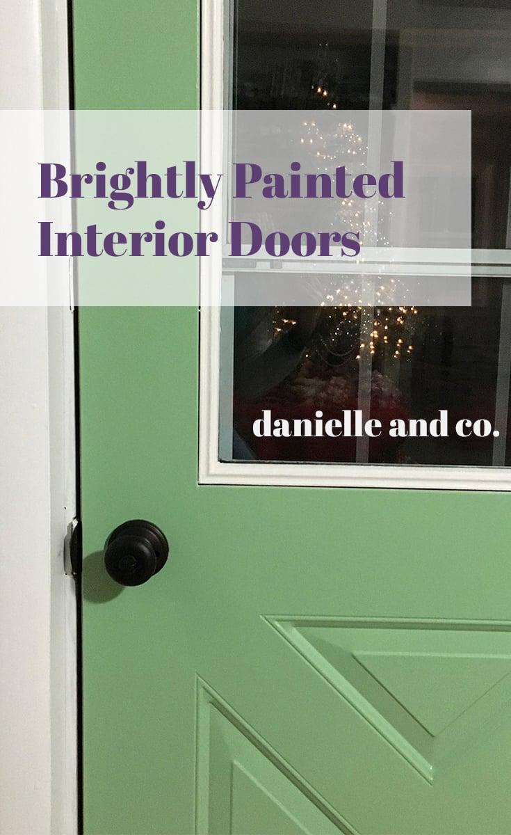 Brightly painted interior doors, via danielleandco.com.