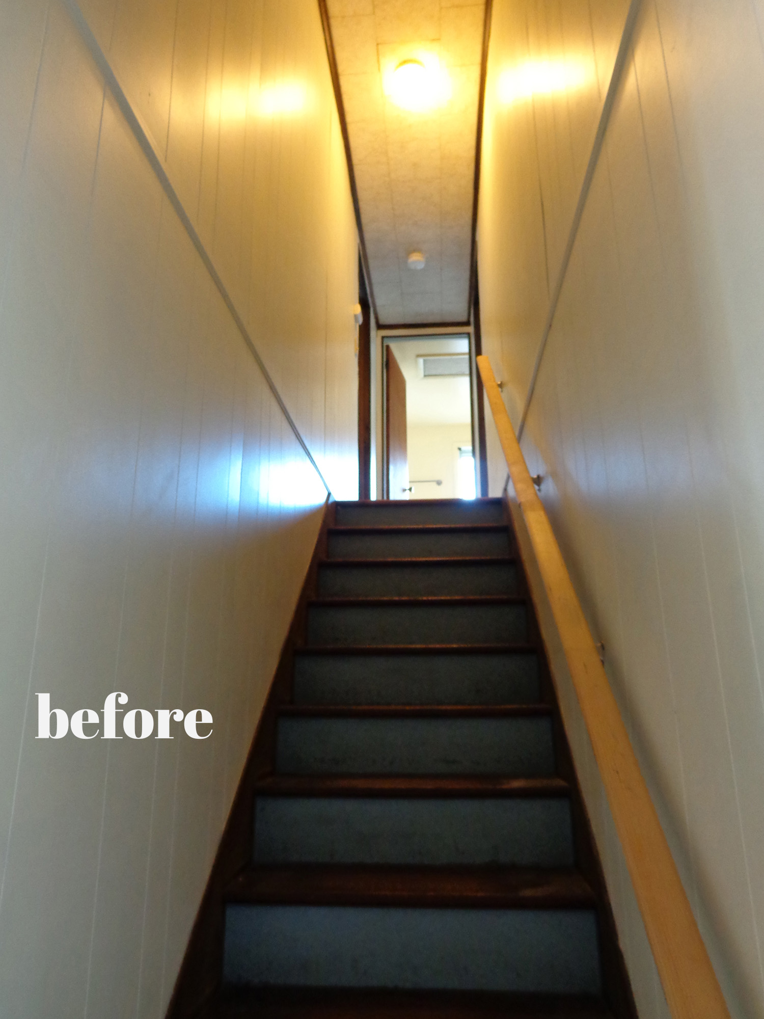 An affordable staircase update - check out the before & afters! House renovation that is practical and still transforms a space! From danielleandco.com