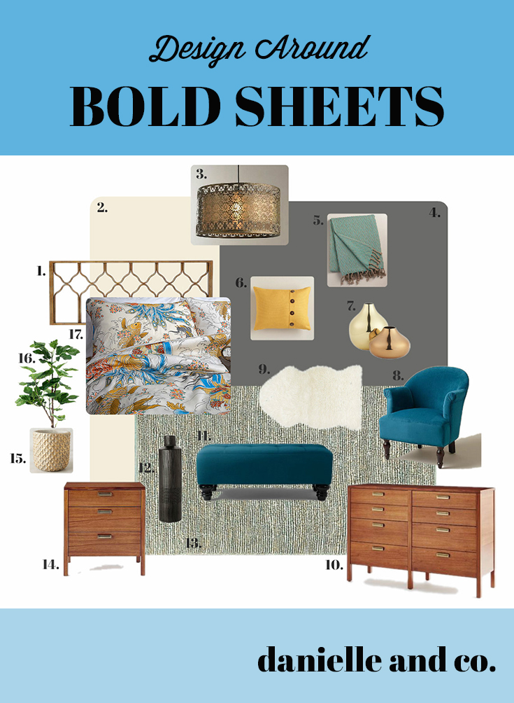 Don't be afraid of bright colors and bold patterns in your bedroom! How to make bold sheets fit into a sophisticated, grown-up space at danielleandco.com