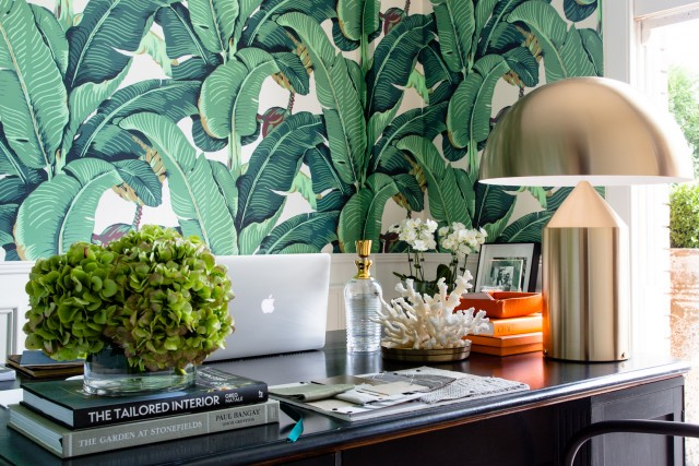 Ideas to design an office space around banana leaf wallpaper! A bold pattern can mix well with modern and glamorous elements, from danielle and co.