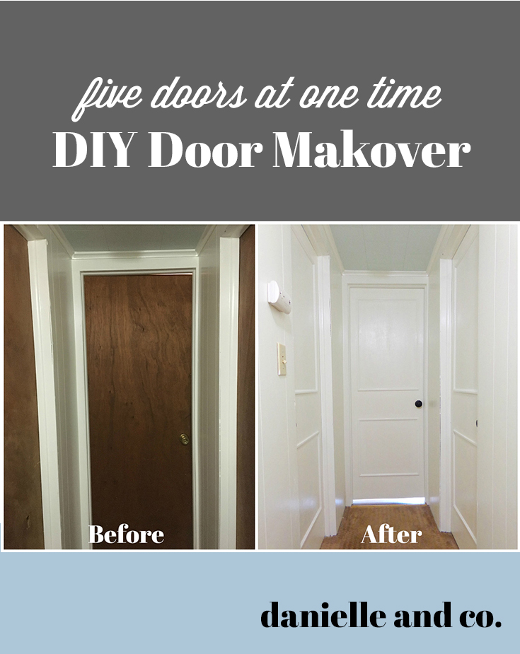 A DIY makeover of five (!!!!) doors at once! How to make old hollow-core doors clean and bright with paint and trim, from danielle and co.