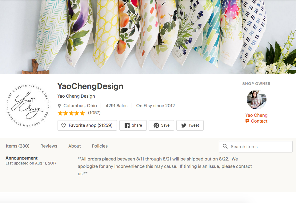 Yao Cheng's Etsy Shop