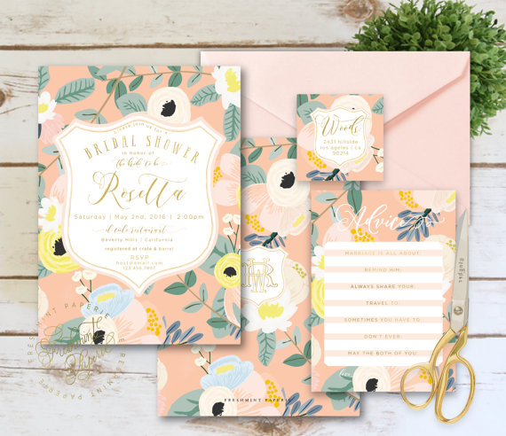 A pattern can make invitations more or less formal, depending on what you choose. I think this suite by  Freshmint Paperie  strikes a great balance between the two!