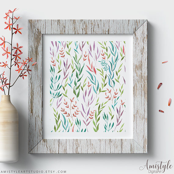 Amistyle Art Studio on Etsy offers prints of  this colorful leaf pattern