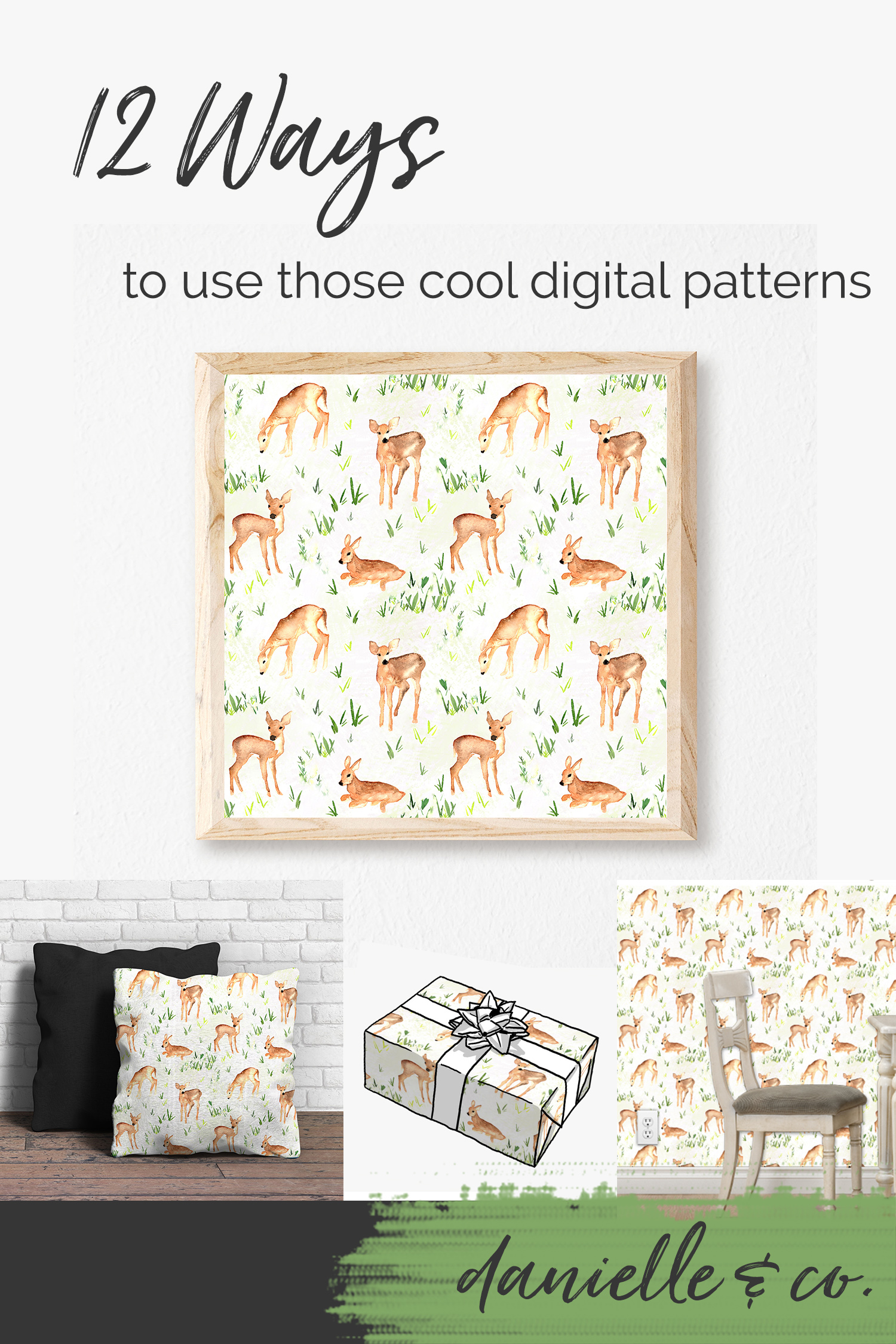 A round-up of creative and affordable ways to use those fun, quirky digital patterns you see everywhere! from danielleandco.com