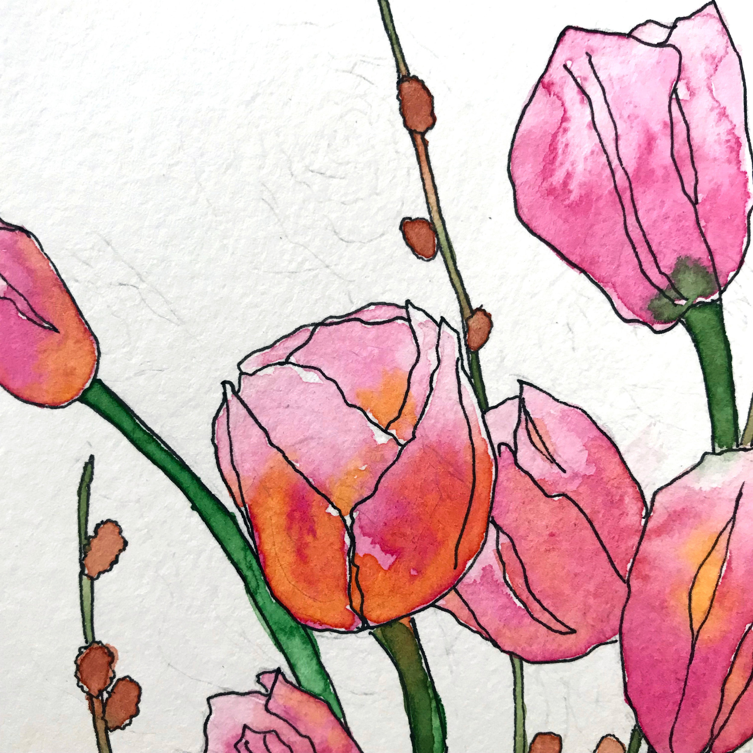 Using a student-grade paper, pencil does not erase as easily and you can see the pigment bloom more as the water dry, creating lines in the pink petals, by danielleandco.com