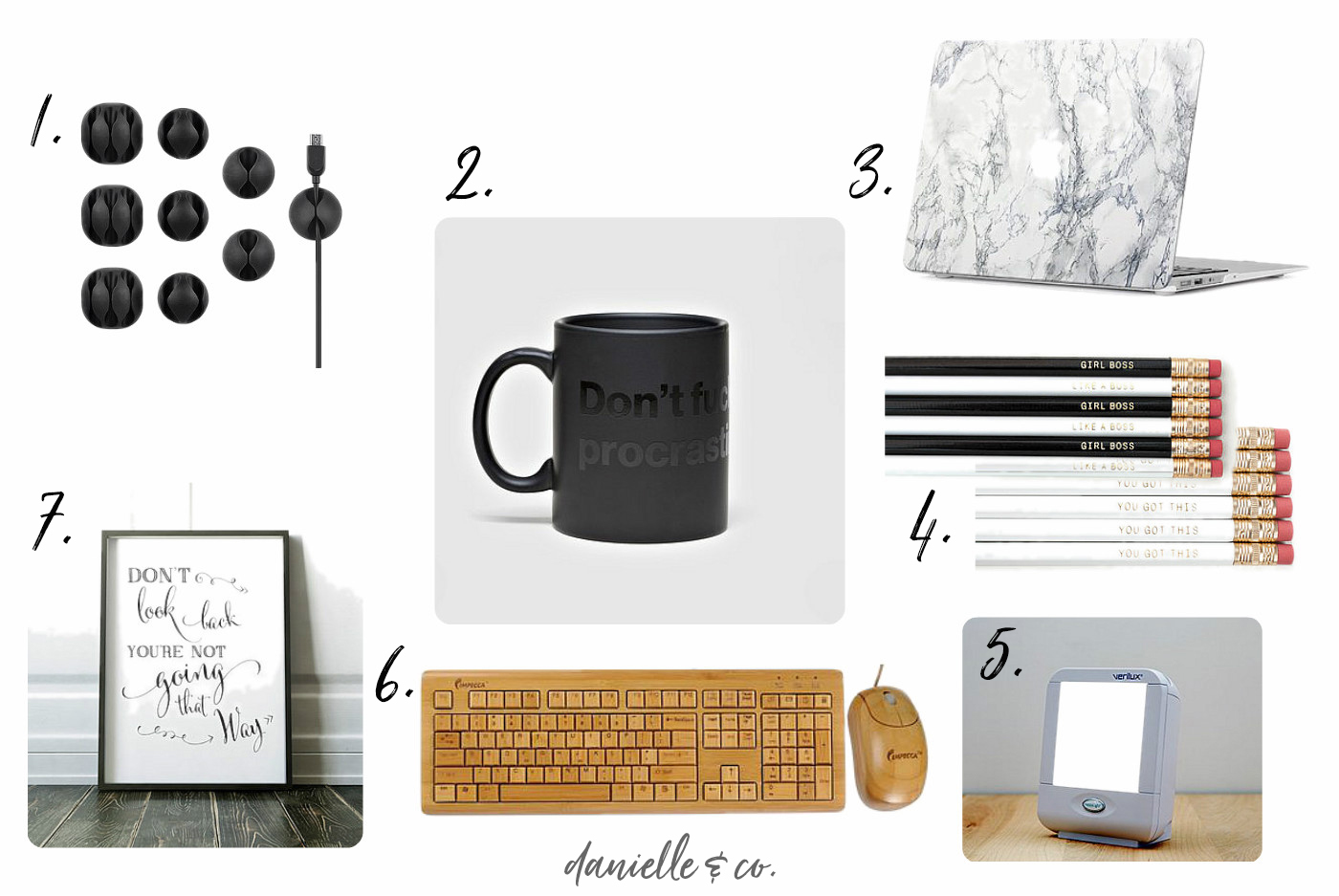 Gift ideas for creative entrepreneurs; how to add upgrade their office this holiday season! From danielle & co.