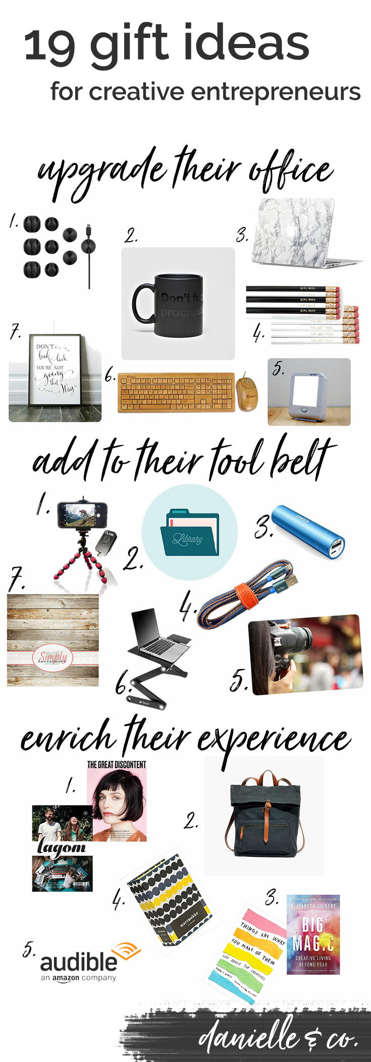 Gift ideas for creative entrepreneurs; how to add to their tool belt, upgrade their office, and enrich their experience this holiday season! From danielle & co.