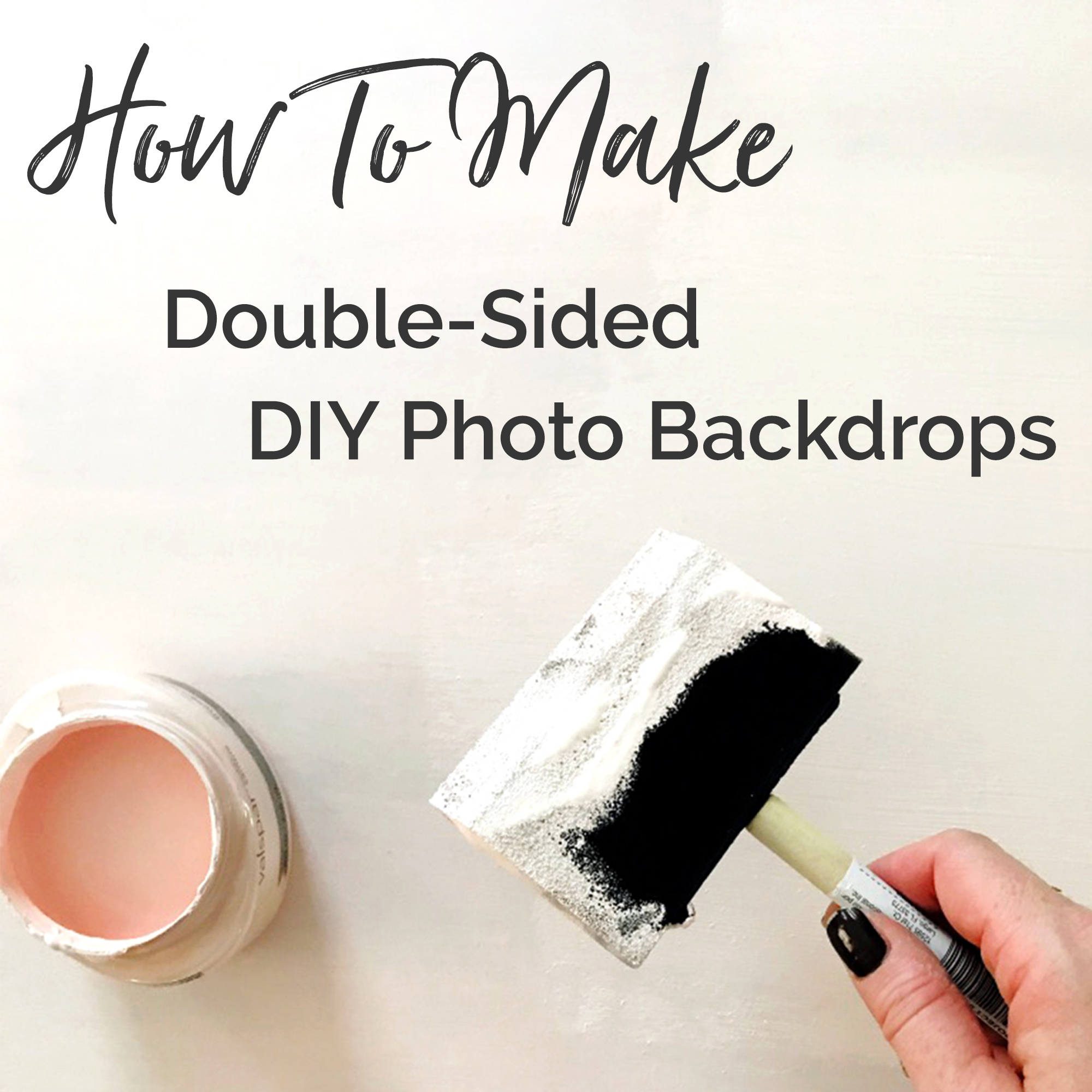 How to make double-sided, DIY photobackdrops for your artwork, crafts, and other products! Create three different backdrops in white marble, pink, and pine wood for less than $27! For more info, check out danielleandco.com.