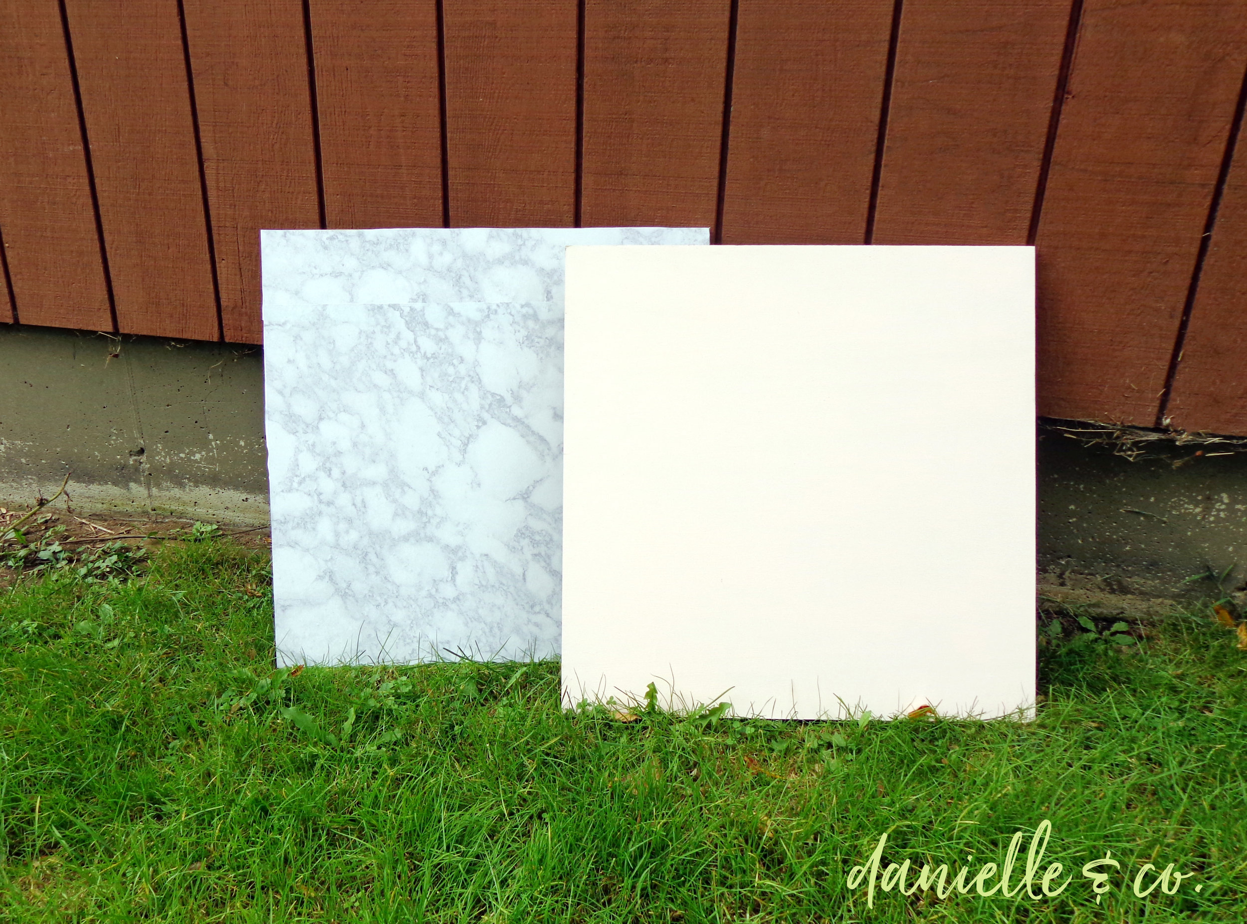 How to DIY three different photo backdrops (marble, blush pink, and pine wood!) to showcase your artwork, crafts, and other projects. Supply list and instructions on danielleandco.com