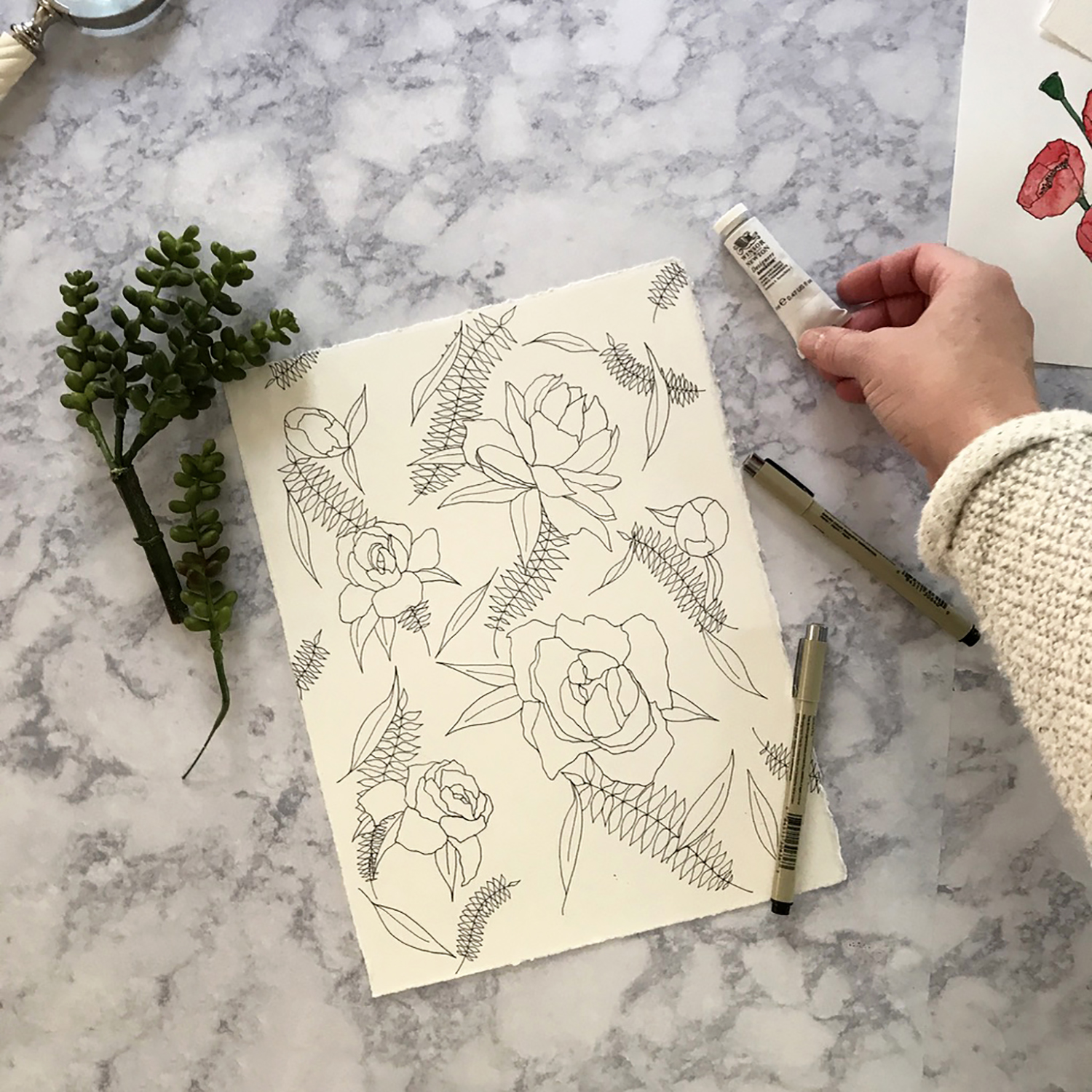 How to style flatflay photos of your artwork or products - tips & tricks for showcasing your work for listing images, marketing, and social media use, from danielleandco.com