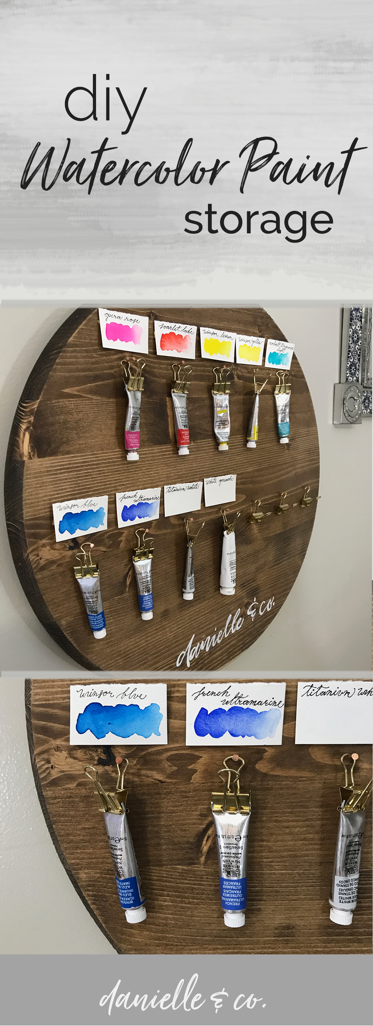 A DIY watercolor paint storage, affordable and easy to organize watercolor tube paints! From danielleandco.com