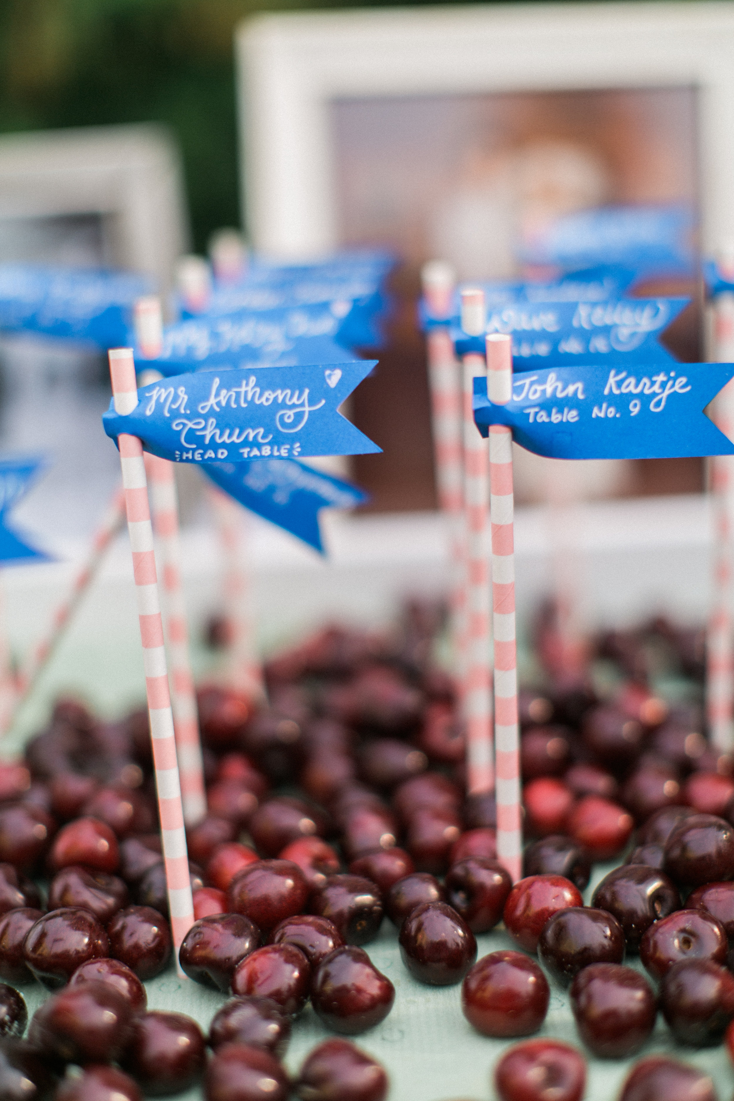 The escort cards/drink straws were arranged by Erin of   Anchor Event & Design   and covered with Michigan cherries!