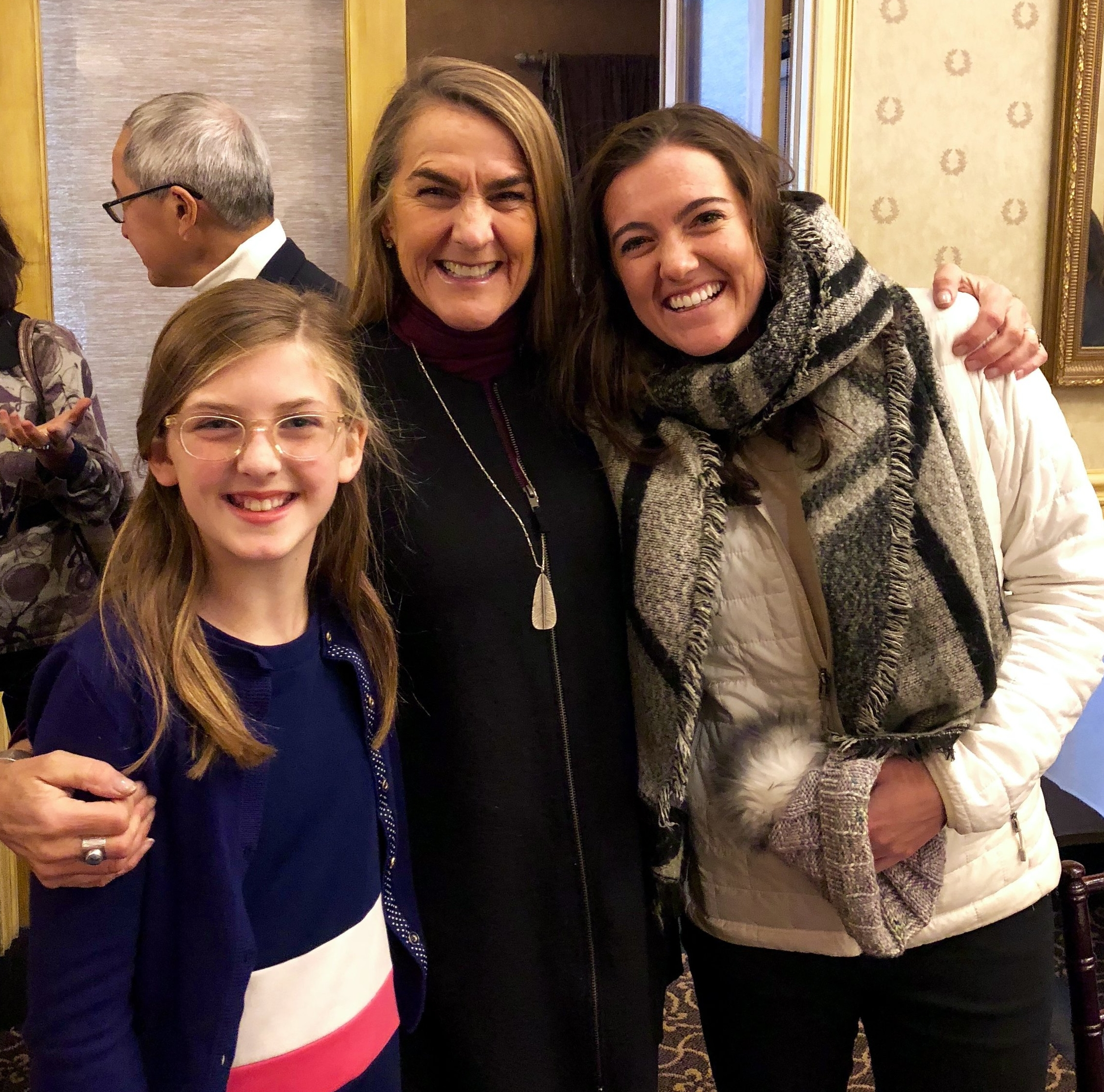 A not-so-little Grace with my friend Ainsley and her mom (a church lady!) - the Hanna Anderson originals!