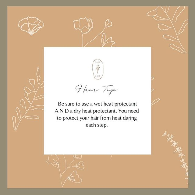 HAIR TIP : be sure to use a wet heat protectant A N D a dry heat protectant. You need to protect your hair from heat during each step. ⠀⠀⠀⠀⠀⠀⠀⠀⠀ Never use a hot iron or blow dryer without heat protectant. ⠀⠀⠀⠀⠀⠀⠀⠀⠀ Did you know there were different forms of heat protectants? If you did raise your hand! . . . #tarahair #thetarahair #hairtutorials #salonblog #hairvideos #blog #arizona #blogging #hairstylist #hairstyles #hairdesigner #hairposts #hairlove #azlove #hairinspo #arizonahairstylist #arizonasalonblogger #unitehair #handcosalon #handco #hair #wecreatebeauty #beauty #hairofinstagram #stylistssupportingstylists #hairmyth #basicallyhair #beforeandafter