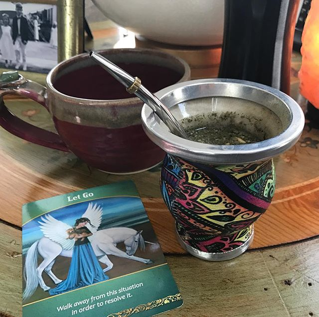 #12daysofselfcare @marjorienass Day 2. Early morning quiet...alone, before the house stirs #lemonwater #yerbamate #doreenvirtue #peaceandquiet #selfcare