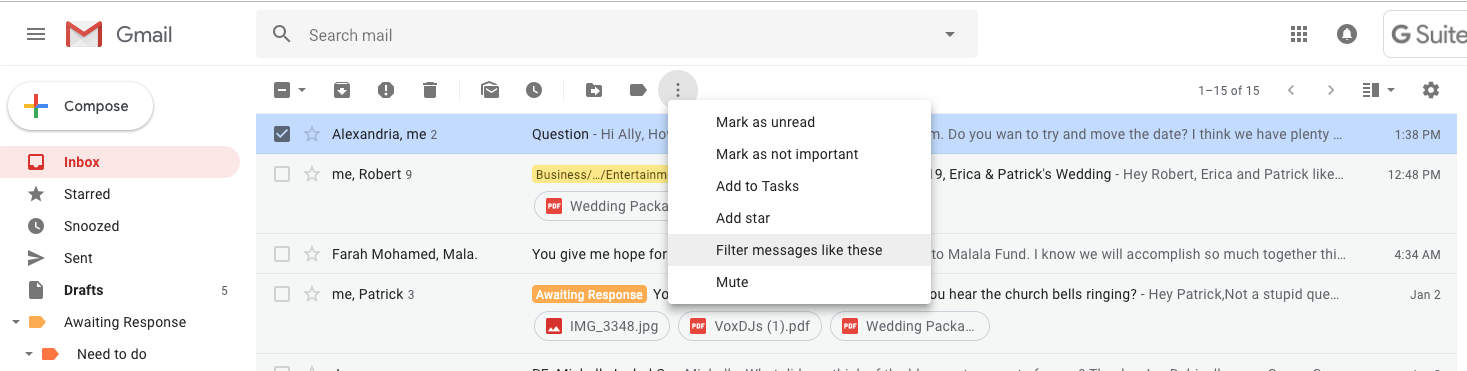 """Select the email you want to label > a menu bar will pop up with an icon that looks like three dots stacked on top of each other > click on the vertical dots and select """"Filter messages like these"""""""