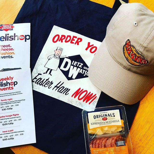 Stopped by the pop-up concept store, Delishop, at 5th and South. Celebrating 80 years of Dietz and Watson, a Philly based meats and cheeses company. Meat themed attire, events, and tastings available until July 25th! #dietzandwatson #delishop #philly #meatsandcheeses #allthemeats #dietznuts #southstreetphilly #hotdogs #redtettemer