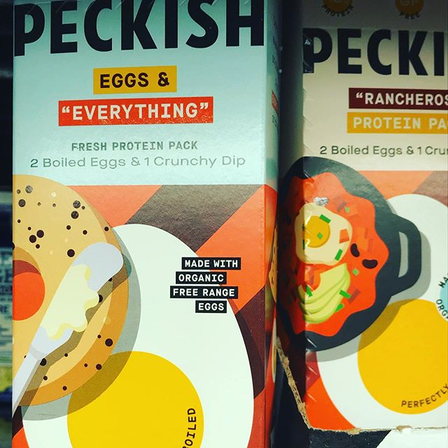 Package design we ❤️! Found this grab and go product at Fresh Market. Love the illustrations and product name! #packagingdesign #cpg #eggs #foodillustration #snack #freshmarket #peckish