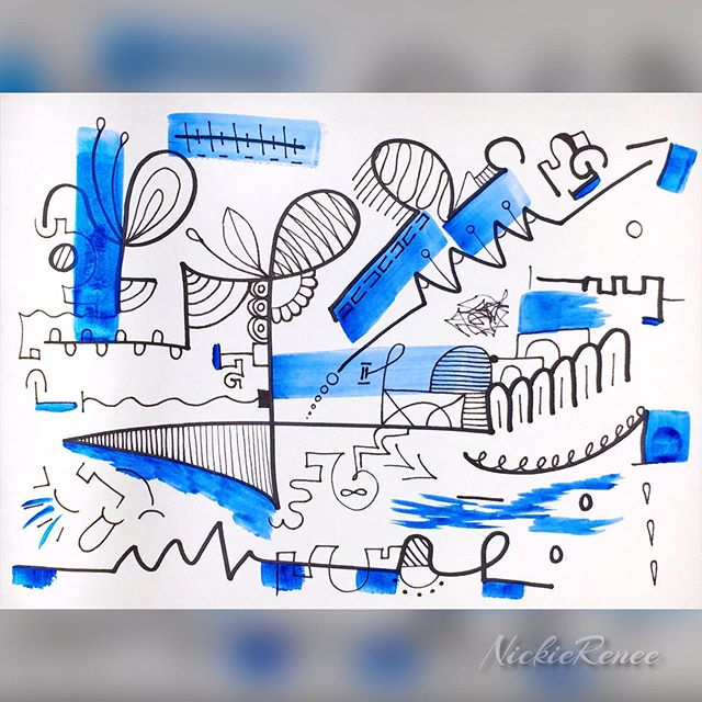 Blue nonsense 💙🖤 • • • • • #nickierenee #abstract #abstractdrawing #abstractdoodle #blue #lines #nonsense #itsallamess #artsyshit #blueandblack