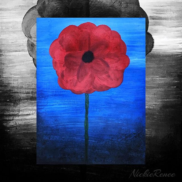 Poppy painting I did for Memorial Day 🇺🇸🖤 • • • • • #nickierenee #acrylicpainting #winsorandnewton #poppy #poppyflower #poppyart #honoringthefallen #memorialday #flowerart #itsallamess #artsyshit