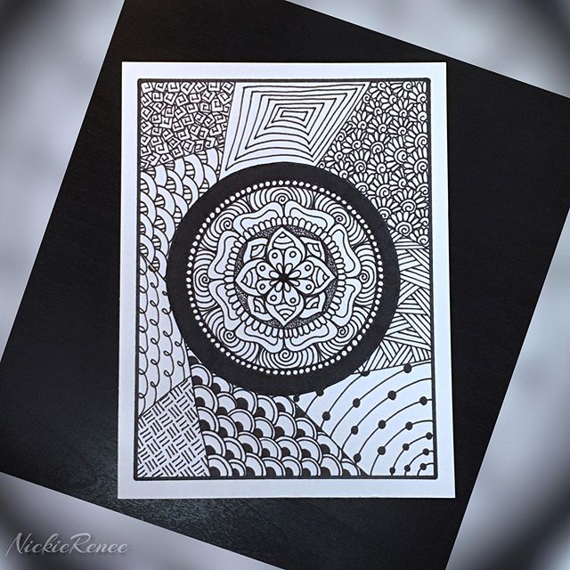 Mandala && such 🖊🖤 • • • • • #nickierenee #mandala #mandala_art #mandaladoodle #mandaladrawing #sharpieart #sharpie #blackandwhite #patterns #artandsuch #zentangle #zentangleart #zentanglepatterns #zentangledoodle #zentangledrawing #mandalazentangle #artsyshit #itsallamess