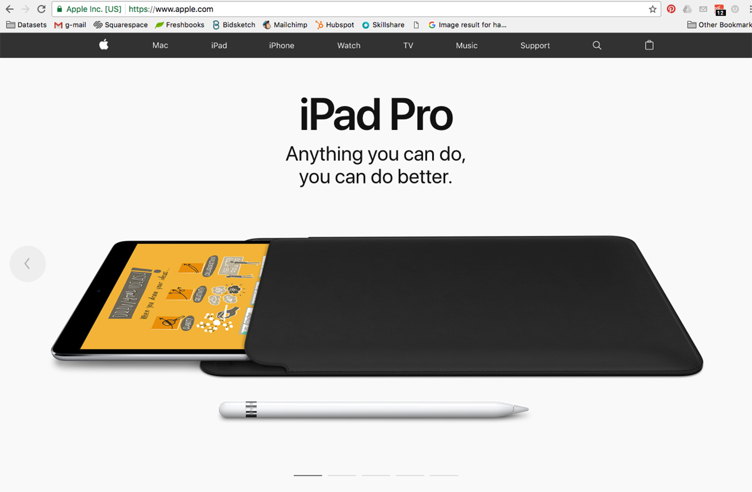 Screenshot for proof that for a short period of time my work was featured on Apple's home page. For better angles of some of my doodles, continue reading.