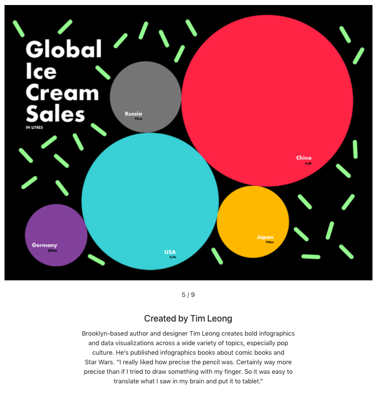 Tim Leong  does a lot of work in print, and I am particularly intrigued by the infographics portion of his portfolio (of course)