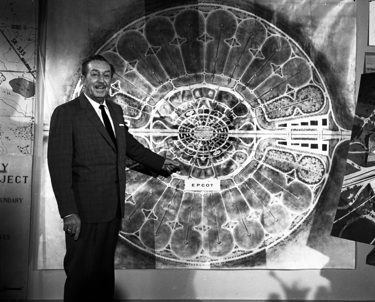 Walt Disney, presenting his vision for EPCOT -the Experimental Prototype Community of Tomorrow , in 1966