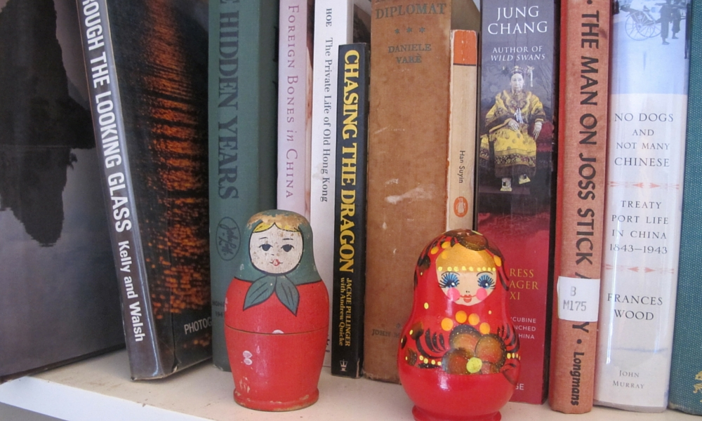 Two Babushka Dolls given to me by two Russian doctors almost fifty years apart, one is a peasant, the other a bit of a hussy!