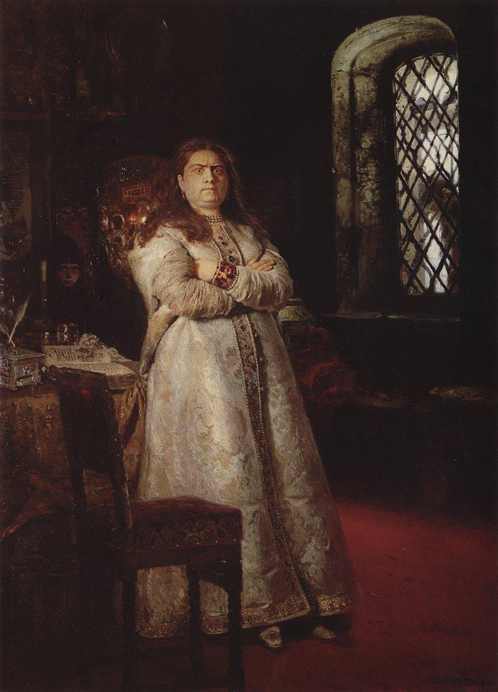 Ilya Repin's 19th C portrait of Princess Sophia in Novodevichy Convent- Look out that window!  She lived from 1657 to 1704
