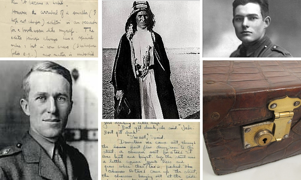 Samples of their writing, just so you can check - clockwise from bottom left, T E Lawrence, Lawrence in Arabia and Hemingway as a young man