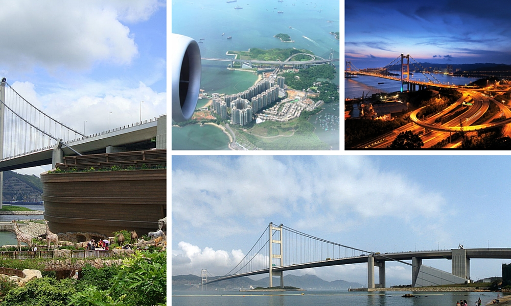 Noah's Ark Theme Park, Ma Wan from the air, the Tsing Ma Bridge by night and by day from the island. Photo credits include Ming Hong and HK Arun