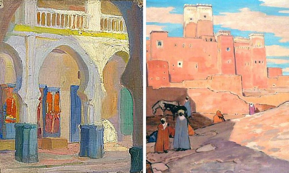 Moroccan loggia, 1912 by Hilda Rix Nicholas and Quarazazte Morocco by James McBey