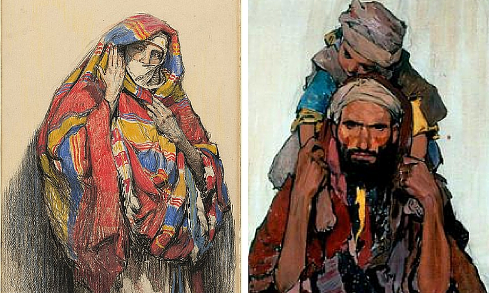 Camoflage by Hilda Rix Nicholas 1914 and Arab Man with a Child by James McBey