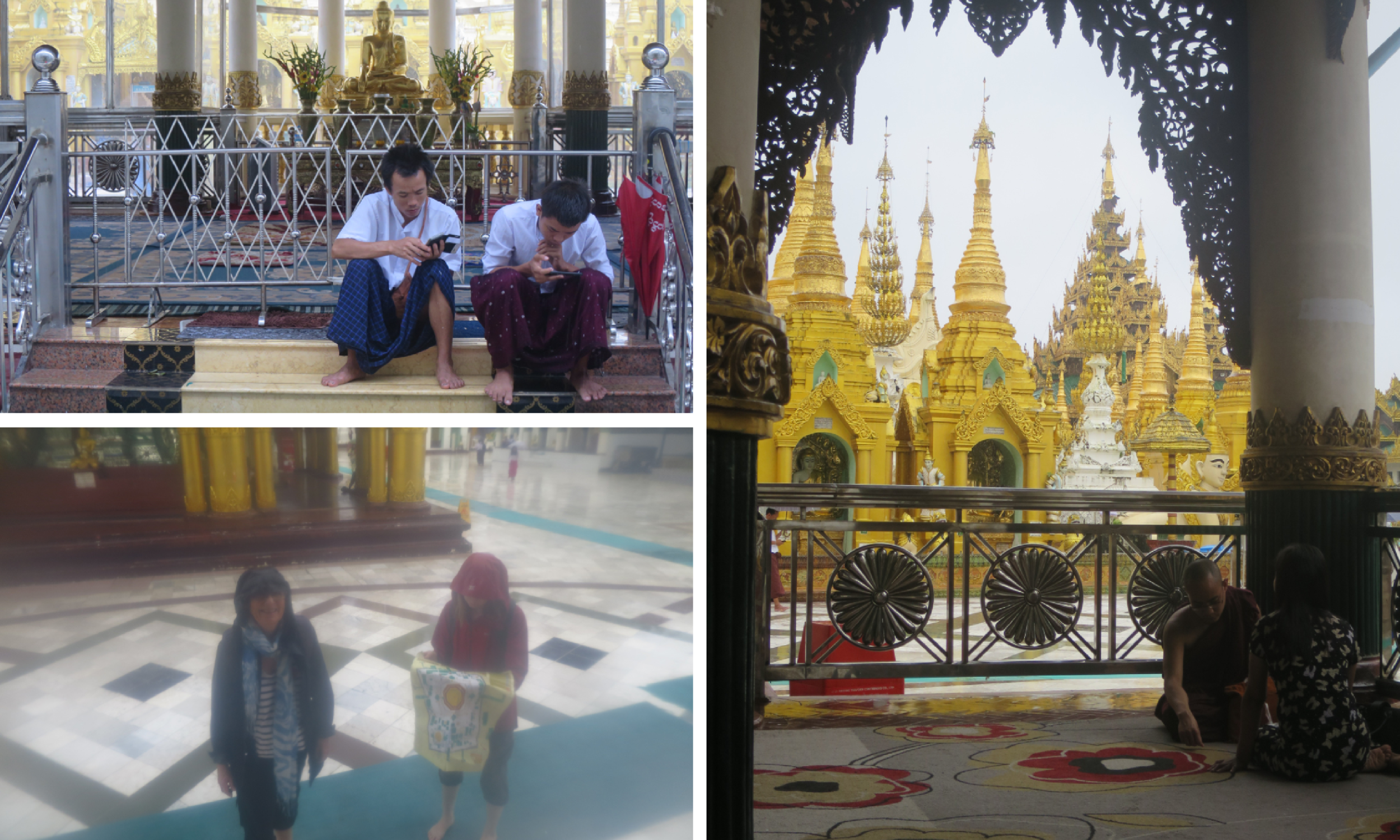 Clockwise from top left: Backs to Buddha - and another convert to social media. A more traditional interaction between a monk and a young girl and I stand by while Alice reads all about it before the paper map finally falls to pieces. All cycles!