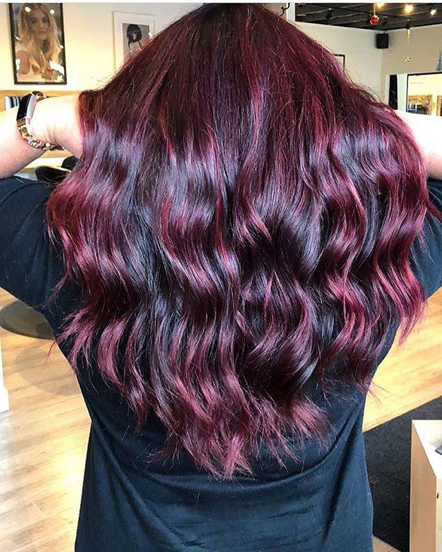 ❤️ this deep black cherry by Paige. 🍒 #pulpriothair #colour #oldstrathcona #yeghair #hair #blackcherry #dark #purple #hairfordays #modernsalon #bumbleandbumble #alterna