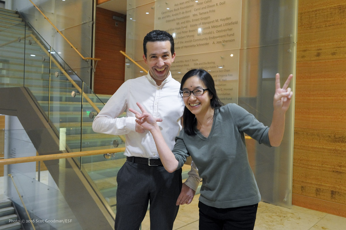 Two of ESF's favorite volunteers, Marco Rozzano and Jess Lin./Photo: Scot Goodman