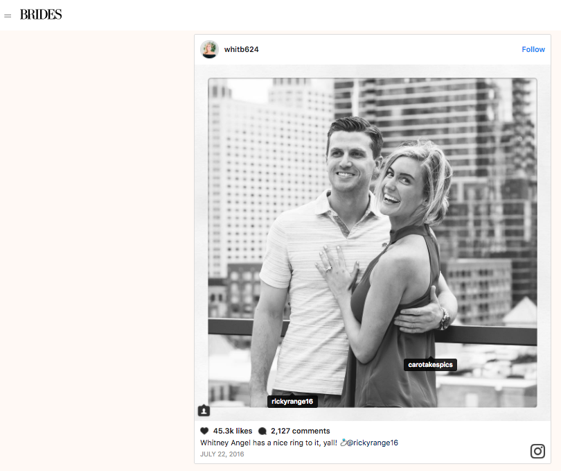 Brides.com - Bachelor Alum Whitney Biscoff's engagement photos.
