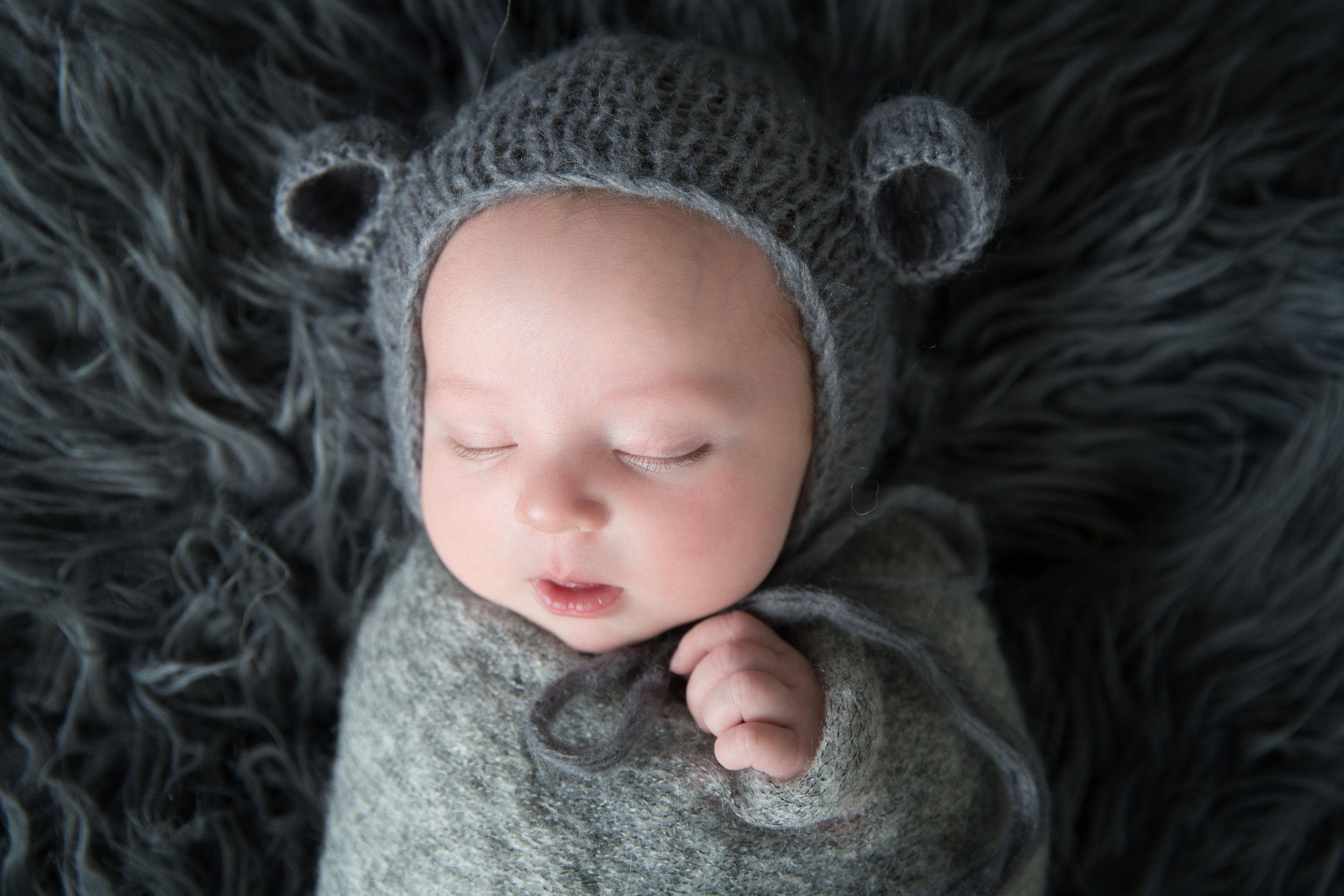 Newborn baby boy in a bear hat. Newborn photoshoot. Calgary newborn photographer.