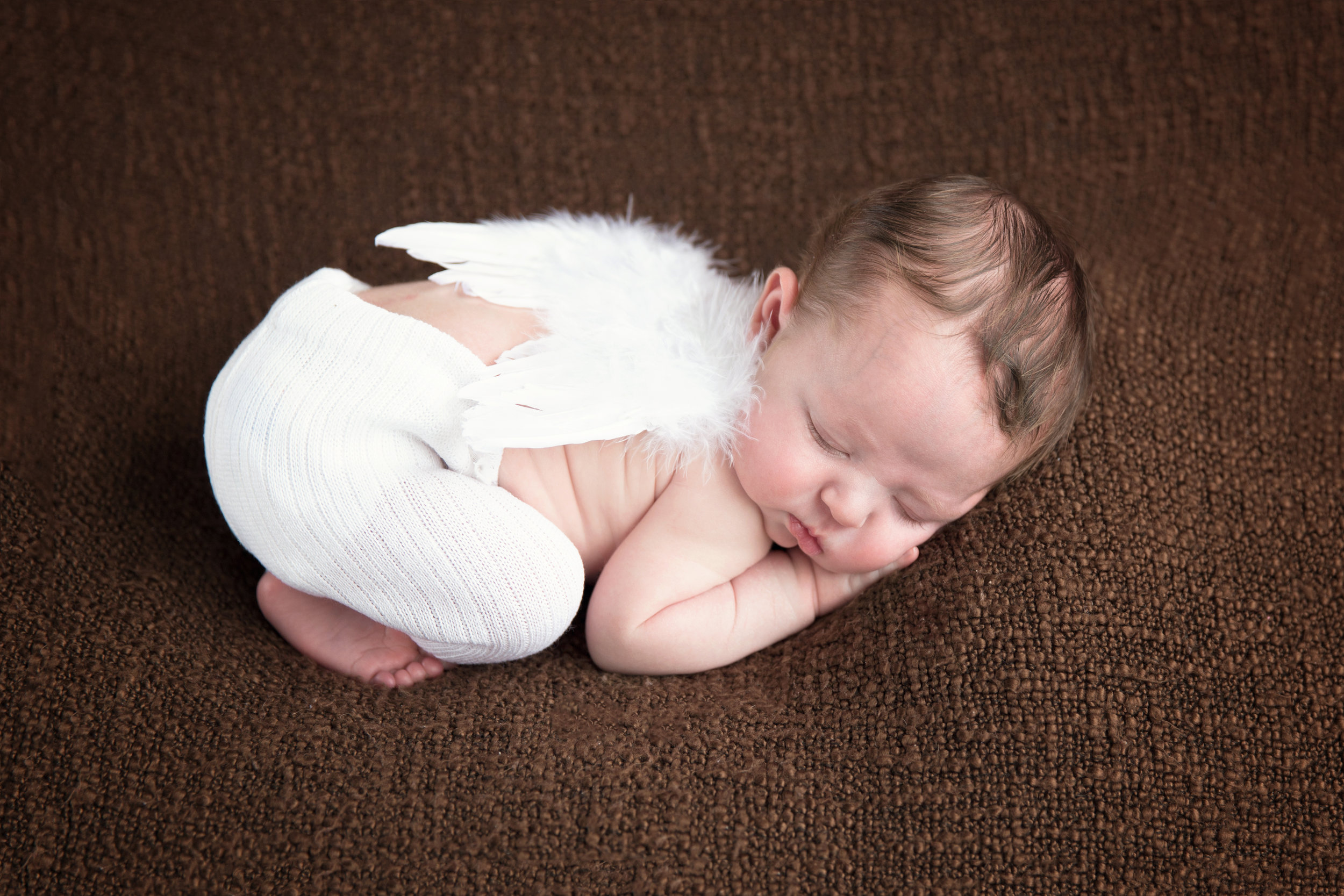 Newborn baby boy with angel wings. Calgary Newborn photographer. Milashka Photography
